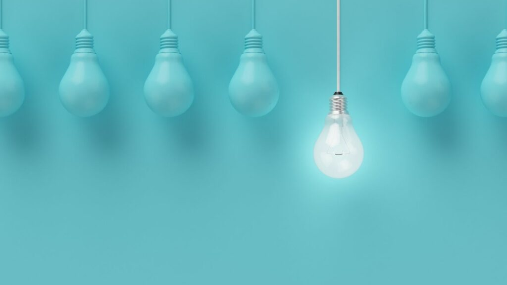Bright bulb in a blue background.