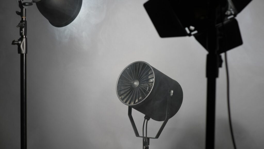 Cinematography setting in a studio.